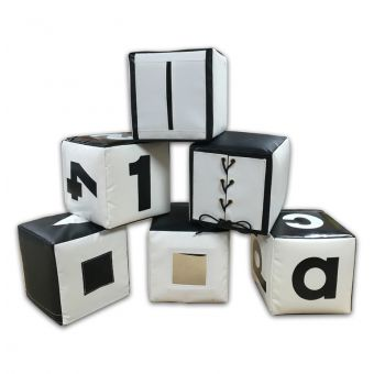 Soft Play Set of 6 Black & White Activity Cubes